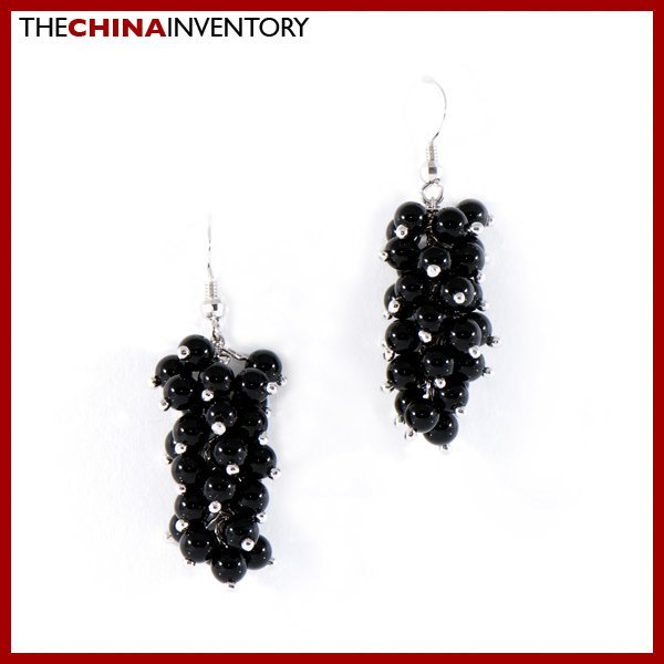 925 SILVER DANGLING BLACK ONYX HOOK EARRINGS SIL1130