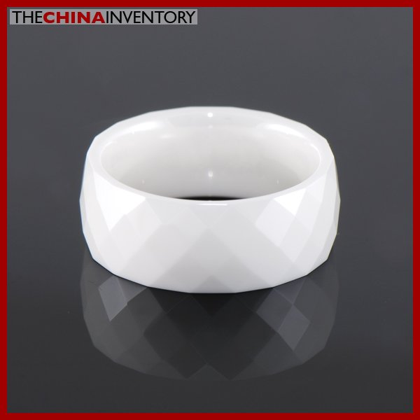 8MM SIZE 10 CERAMIC FACETED WEDDING BAND RING R1407