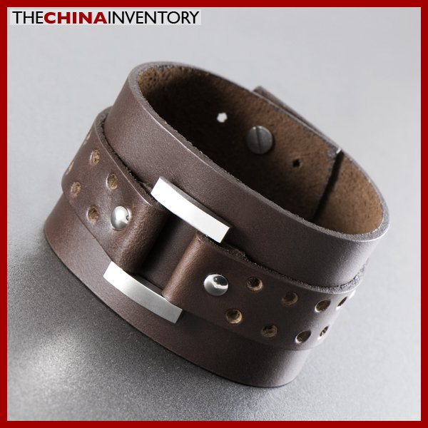 "9"""" BROWN LEATHER STAINLESS STEEL BANGLE BRACELET B1220"
