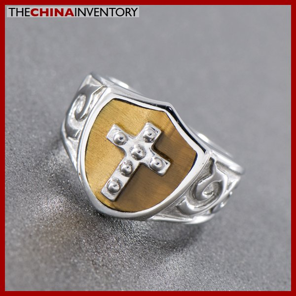 SIZE 10 STAINLESS STEEL TIGER'S EYE CROSS RING R0802B