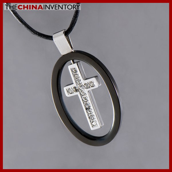 STAINLESS STEEL CZ CROSS OVAL PENDANT NECKLACE P0605