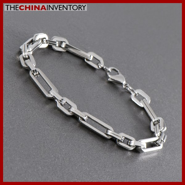 "8 1/2"""" STAINLESS STEEL RECTANGULAR LINKS BRACELET B1003"