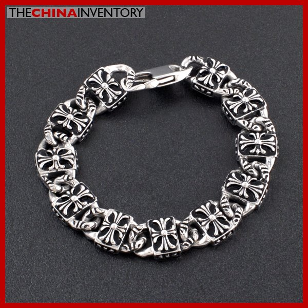 """8"""""""" STAINLESS STEEL BRACELET GOTHIC CROSS TAG LINK B2213"""
