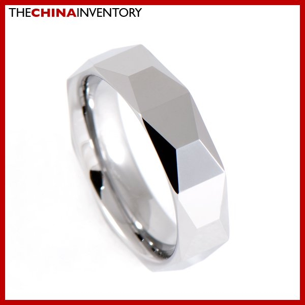 6MM SIZE 11 POLISHED FACETED TUNGSTEN BAND RING R0911B