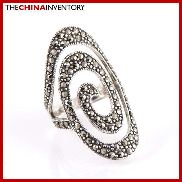 SIZE 8 925 STERLING SILVER MACARSITES RING SIL2202