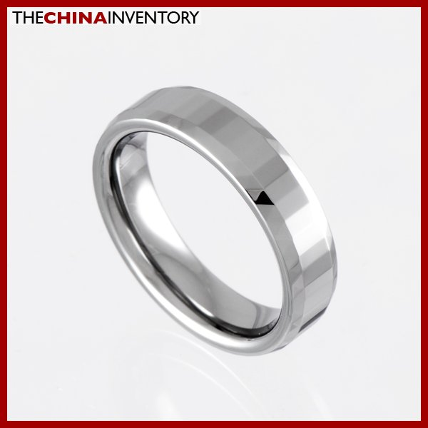 6MM SIZE 7 FACET TUNGSTEN CARBIDE FLAT BAND RING R0922