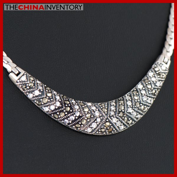 925 STERLING SILVER BRIDAL NECKLACE W MACARSITE SIL2203