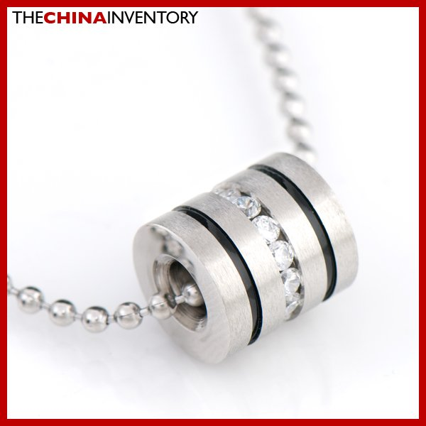 STAINLESS STEEL CZ TUBE PENDANT NECKLACE P0725B