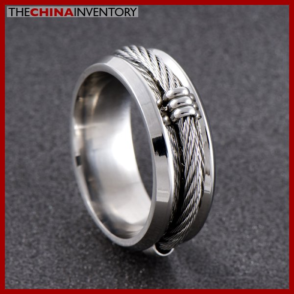 8MM SIZE 10 MEN'S STAINLESS STEEL CABLE RING R0703B