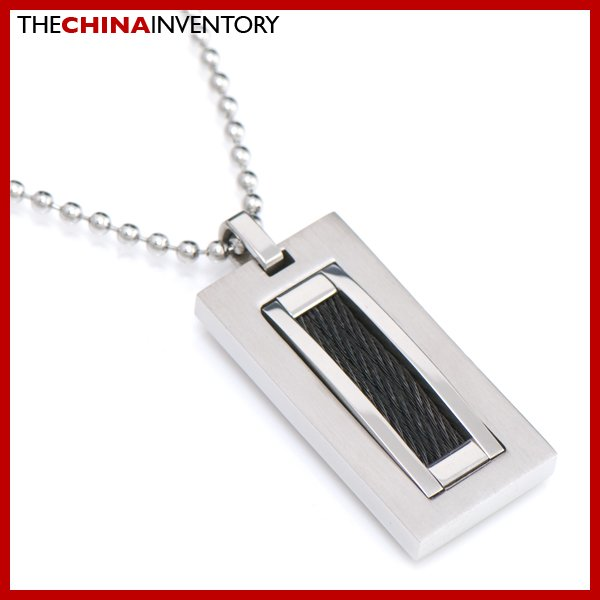 STAINLESS STEEL TAG PENDANT SILVER WIRE INLAY P2203B
