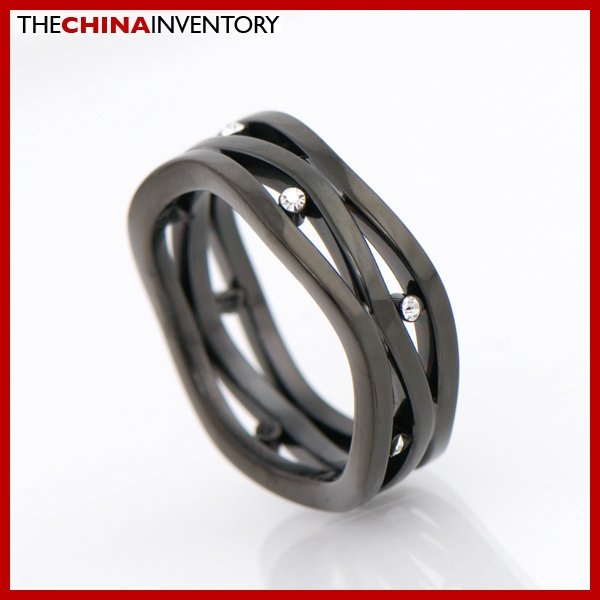 6MM SIZE 5 BLACK STAINLESS STEEL RING WAVE STYLE R2106