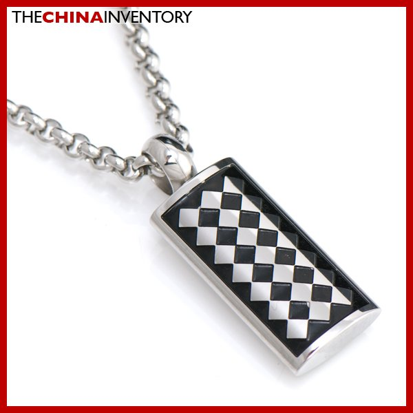 STAINLESS STEEL CHECKERS PENDANT NECKLACE P2202