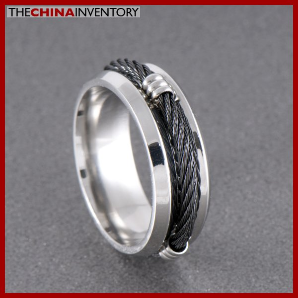 8MM SIZE 5 STAINLESS STEEL BLACK CABLE BAND RING R0708