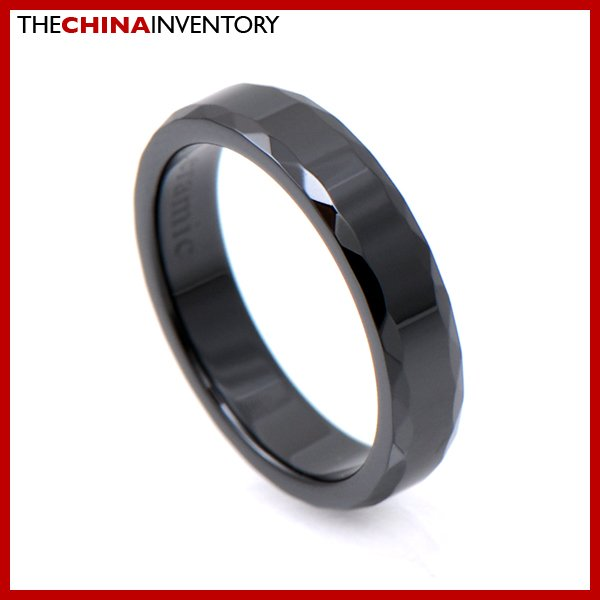 4MM SIZE 4.5 BLACK CERAMIC WEDDING BAND RING R1202B