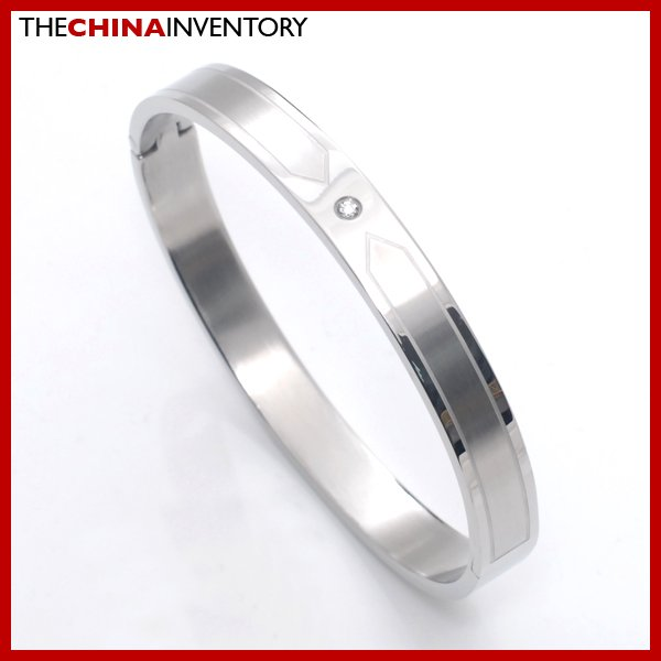 MEN'S STAINLESS STEEL CZ BANGLE BRACELET B2702A