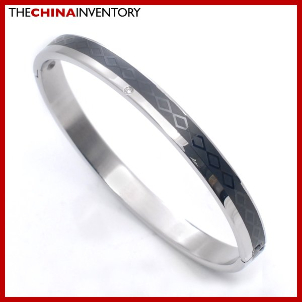 WOMEN'S STAINLESS STEEL RHOMBUS CZ BANGLE B2712B
