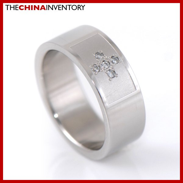 NEW MEN SIZE 9 8MM STAINLESS STEEL CZ CROSS RING R2703