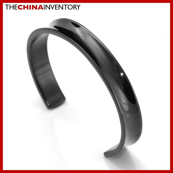 "10MM  6 1/2"""" BLACK STAINLESS STEEL CUFF BANGLE B0310L"