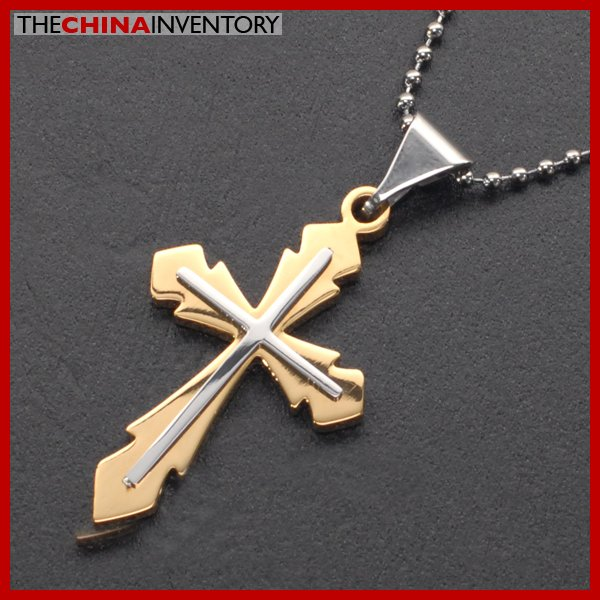 STAINLESS STEEL GOLD TONE DOUBLE CROSS PENDANT P1611B