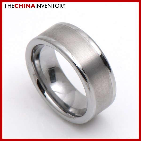 8MM SIZE 10 BRUSHED TUNGNSTEN CARBIDE BAND RING R0809B