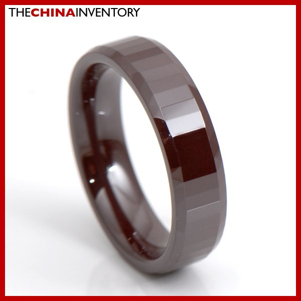 6MM SIZE 10 BROWN CERAMIC WEDDING BAND RING R3410