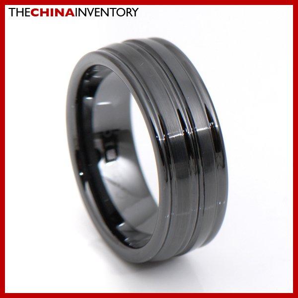 8MM SIZE 9 CERAMIC BLACK RING TRIPLE GROOVE R3412