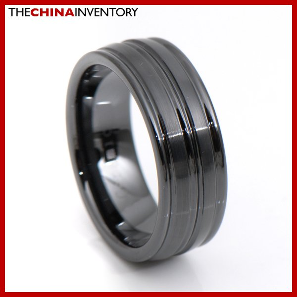 8MM SIZE 10 CERAMIC BLACK RING TRIPLE GROOVE R3412