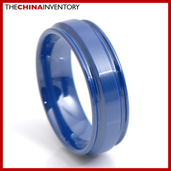 8MM SIZE 9 BLUE CERAMIC WEDDING BAND RING R3416