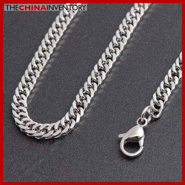 "5MM 22"""" STAINLESS STEEL CURB CHAIN NECKLACE N3613"