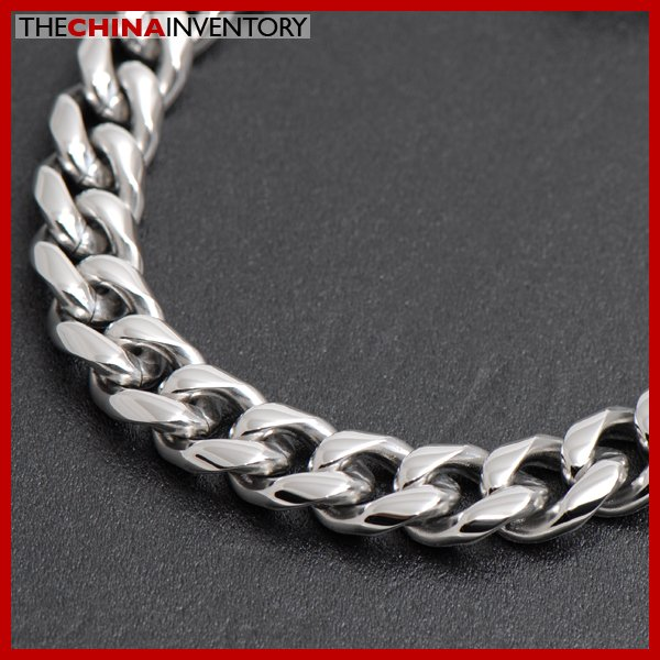 """8.5"""""""" STAINLESS STEEL ROUND CURB CHAIN BRACELET B3604"""
