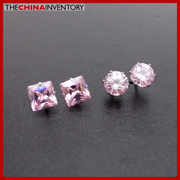 2 PAIRS STAINLESS STEEL PINK CZ STUD EARRINGS E4016D