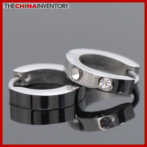 3MM STAINLESS STEEL TWO CZ HUGGIE HOOP EARRINGS E3704A