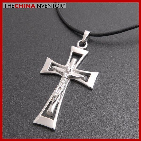 STAINLESSS STEEL JESUS ON CROSS PENDANT NECKLACE P3801