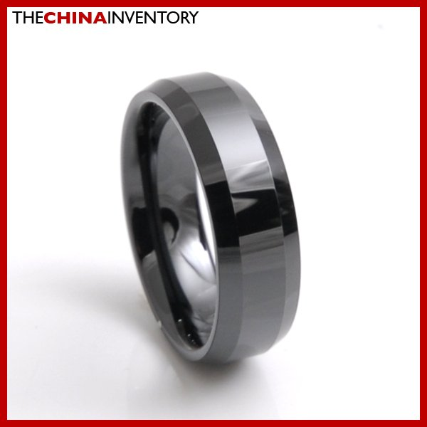 7MM SIZE 5 BLACK CERAMIC BEVELED EDGE BAND RING R3801