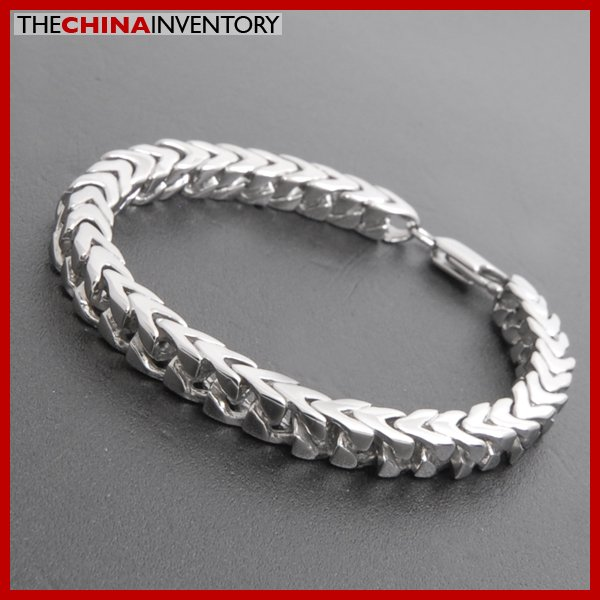 """8"""""""" MENS STAINLESS STEEL SQUARE CURB BRACELET B3810"""