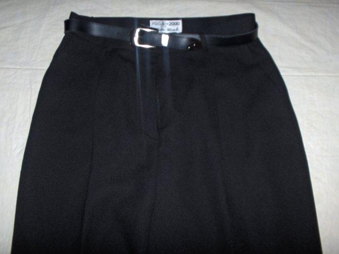 Charles Glueck Pleated black dress pant-lined 14 petite