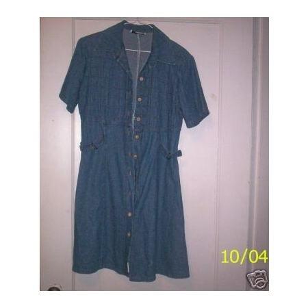 Denim dress-short sleeve button down casual size 10