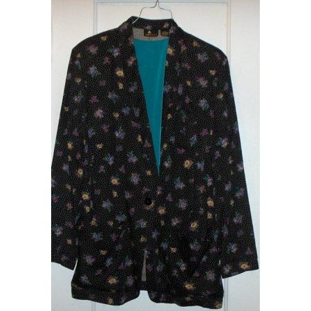 LizSport blazer Black/Floral w/ shell top sz SMALL