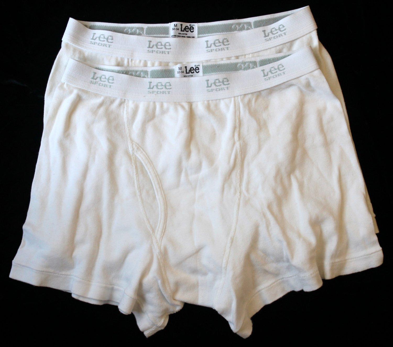 Lee Men's 2 Pair Underwear White Western Boxer  Briefs Medium 32-34