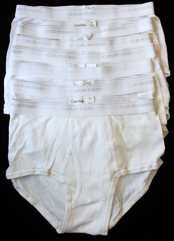 Calvin Klein  Men's 7 Pair Underwear White Briefs Medium 32