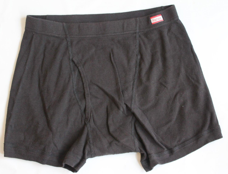 Hanes Men's 1 pr Black Underwear Boxer Briefs L 36-38