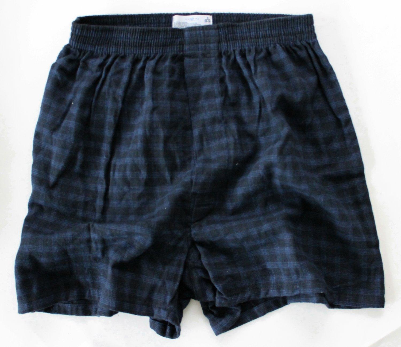 Towncraft 1 Pair Men S Flannel Boxers Blue Black Plaid