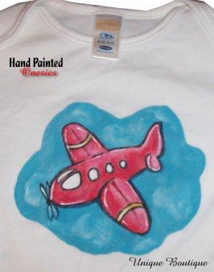 Unique Boutique Hand Painted Red Air Plane onesie 0-3M-18M