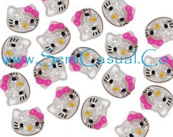 10 GLITTER 3D NAIL ART WITH PINK BOW 10MM