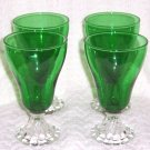 "ANCHOR HOCKING SET OF 4 FOREST GREEN 6 "" WATER GOBLETS"