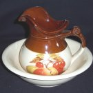 "McCoy PITCHER & WASH BASIN PEACHES & CHERRYS ""MARKED"""