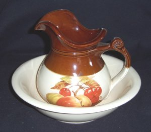 """McCoy PITCHER & WASH BASIN PEACHES & CHERRYS """"MARKED"""""""
