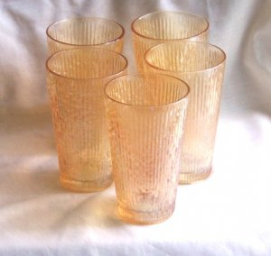 "Carnival Glass Tumbers set of 5""Tree Bark"""