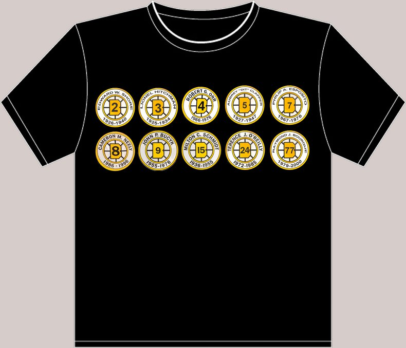 XX-Large Black Boston Bruins Retired Numbers T-shirt