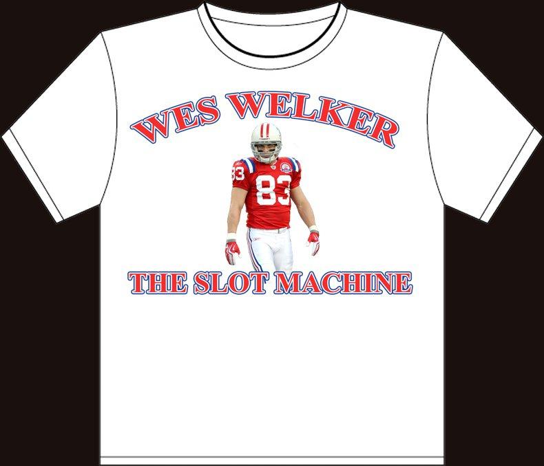 "Medium White ""Wes Welker - The Slot Machine"" New England Patriots T-shirt"